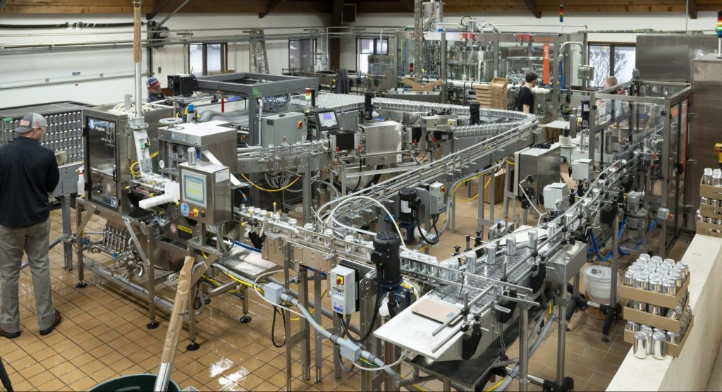 canning line automated canning line at a brewery